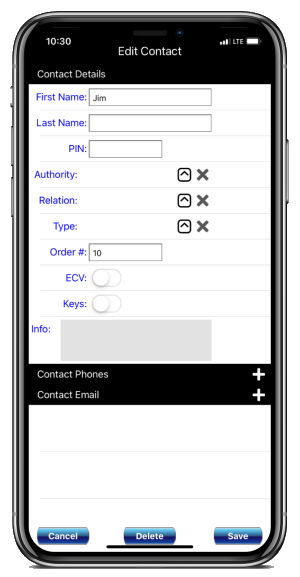 Edit Contact Information & Passwords